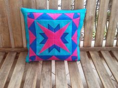 Patchwork Star and Heart Embroidered Throw Pillow Cover, Handmade, Pink, Turkuoise and Navy Blue Colour Cushion Case, Zippered Quilting Tutorials, Quilting Projects, Throw Pillow Covers, Throw Pillows, Navy Blue Color, Cushions, Quilts, Stars, Pattern