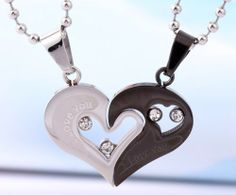 personalized name engrave gift for valentine titanium couple necklace set 1900 his and hers necklaces