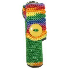 https://www.etsy.com/treasury/NTgxMTIxMXwyNzIyMzkwNTc1/elite-rainbow-four Lip Balm Holder Rainbow Green Crochet by pigswife on Etsy, $8.00