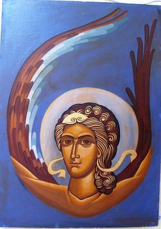 Angel distance: 40x30cm Byzantine, Distance, Mona Lisa, Angel, Artwork, Painting, Work Of Art, Auguste Rodin Artwork, Painting Art