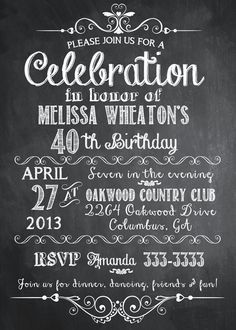 Chalkboard Adult Birthday Party Invitation - Printable -- love the fonts