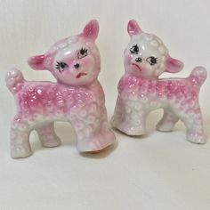 Vintage Japan Pink and White Lamb Sheep Salt and Pepper Shakers, Cake Toppers, Easter Figurines