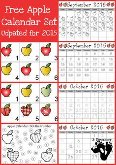 Free 2015 Apple Calendar Set - September & October 2015 - 3Dinosaurs.com