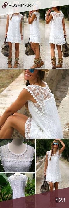 LACE SUNDRESS Simple, fun and flirty sleeveless sheath dress. Beautiful floral pattern lace overlay with pom-pom tassels along sleeve and neckline. Would make a great swimsuit cover up. See size chart listed above for measurements. Dresses Mini