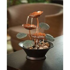 Bits and Pieces - Indoor Water Lily Water Fountain-Small Size Makes This A Perfect Tabletop Decoration - Compact and Lightweight: Home & Garden: Indoor Tabletop Water Fountain, Indoor Pond, Table Fountain, Diy Fountain, Fountain Design, Indoor Water Fountains, Garden Fountains, Indoor Outdoor, Water Fountain For Home
