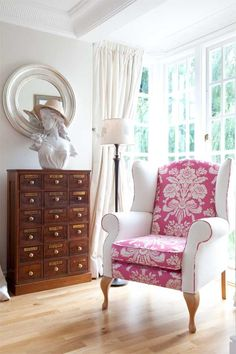 love this...take the most traditional chair and create magic simply with fabrics!!
