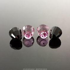 Absolule Black Jade and Man-made Pink Sapphire, Acorn, Unknown, #642
