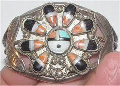 Vintage Zuni sunface bracelet. Coin silver.
