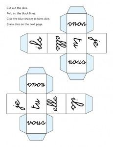French Verb Dice #verbes #français