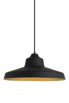 "Zevo Pendant Light from LBL: Oversized (18"" in diameter) version of a popular industrial-inspired design and creates a bold statement no matter which of the diverse finish options is selected. Fixtures with this ubiquitous silhouette were used for decades and are now used in eclectic homes in home offices or  over kitchen counters. In a Black Exterior finish coupled with a Gold Interior finish with a Black cloth cord and matching canopy. Damp-rated and dimmable."