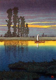 Evening at Ushibori - Twilight at Ushibori, by Kawase Hasui, 1930