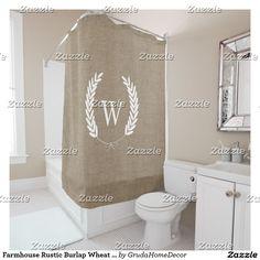 Farmhouse Rustic Burlap Wheat Laurels Monogram Shower Curtain