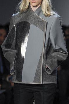 Grey colourblock jacket with contrasting fabrics; fashion details // Helmut Lang