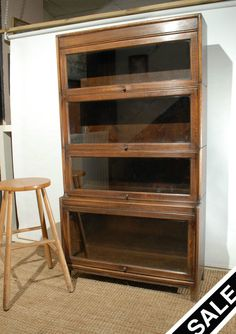 Antique Oak Barristers Sectional Bookcase