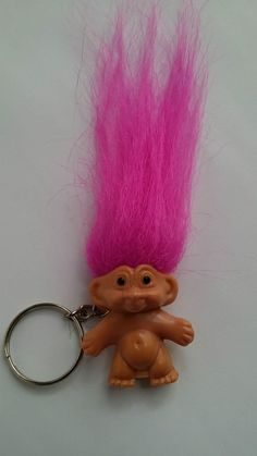 """box w//troll legend on back orange hair 1.5/"""" Good Luck Pocket Troll TROLL DOLL"""
