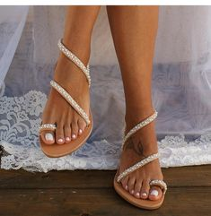 😍 😍 Exquisite Pearl styled Bohemian Sandals with Luminous Rhinestone Crystals Vegan leather Women's Sandals - (US Size Pearl Sandals, Rhinestone Sandals, Strappy Sandals, Leather Sandals, Flat Sandals, Hippie Shoes, Boho Shoes, Beach Shoes, Beach Wedding Sandals
