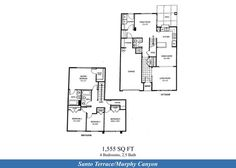 Naval Complex San Diego – Santo Terrace (Murphy Canyon) Neighborhood: 4 bedroom 2.5 bathroom duplex home floor plan (1555 SQ FT).