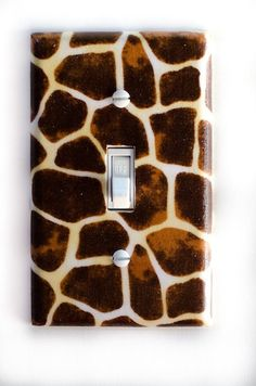 Giraffe Single Toggle Switch Plate, wall decor from PopGoesTheColor on Etsy. Saved to PopGoesTheColor. Giraffe Bedroom, Safari Bedroom, Giraffe Decor, Giraffe Print, Nursery Room, Plate Wall Decor, Diy Wall Decor, Plates On Wall, Room Decor