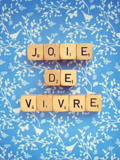 Joie De Vivre. Fine Art Photography. Scrabble Blocks. Wall Art. Blue. Little Birds. French Words. Size 5x7""