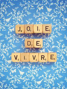 "Joie De Vivre. Fine Art Photography. Scrabble Blocks. Wall Art. Blue. Little Birds. French Words. Size 5x7"""