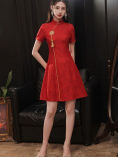 Red Lace A-line Short Qipao / Cheongsam Wedding Dress - CozyLadyWear Wedding Dress Sizes, Wedding Dresses, Cheongsam Wedding, Custom Made Clothing, A Line Shorts, Fit And Flare Skirt, Red Lace, Dress P, Dress Making