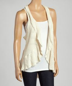 Loving this Natural Crochet Open Racerback Vest - Women on #zulily! #zulilyfinds