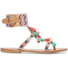 Mabu by Maria BK Embellished leather sandals ($210) ❤ liked on Polyvore featuring shoes, sandals, orange, flat shoes, buckle sandals, leather ankle strap sandals, embellished sandals and boho sandals