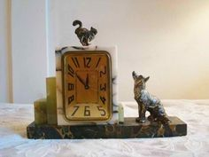 Cat and Dog Standoff Marble Art Deco Alarm Clock 1920's | Collectors Weekly