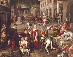 Street scene (Carnevale) ca 1600. (Leandro Bassano.) Could be Milan.