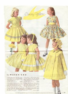"""Back of Sister and I page on last pin. Love the black trim. again, though, the hat? would you get your daughter to wear it? It is """"rain or shine"""" of """"water-repellent cotton sateen"""", but.Designs by Helen Lee. Vintage Kids Fashion, Vintage Kids Clothes, Vintage Girls Dresses, 60s And 70s Fashion, Little Girl Fashion, 1950s Fashion, Little Girl Dresses, Vintage Children, Vintage Outfits"""