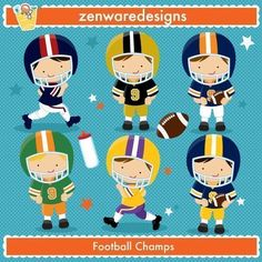 Description: These cute little football players are ready to play! Popular team football graphics for the perfect sports party, tote bags and monogramming! This set is wonderful for party invitations and notepads! The simple [. Football Clip Art, Blue Football, Football Birthday, Football Players, Football Season, Pep Club, Zen, Kids C, Graduation Project