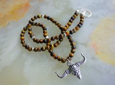 Longhorn Skull NecklaceTiger Eye NecklaceMens by GioArte on Etsy