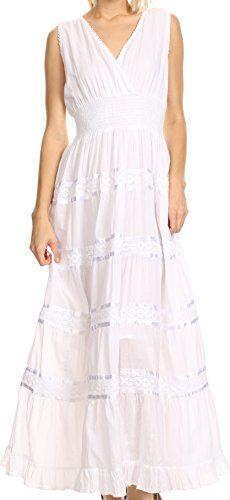 Sakkas KD107  Leik Long Crochet Embroidered Paneled Crossover Adjustable Batik Tank Dress  White  M *** Click image for more details.