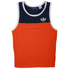 adidas Originals C90 Summer Tank - Mens - Casual - Clothing - Collegiate Orange/Dk Indigo/White