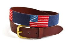 Asher Riley American Flag on Navy Needlepoint Belt