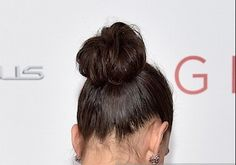 Hairstyle Trends 2014, 2015: Get The Look, Photos: Katie Holmes Texturized TopKnot At The Giver Movie Premiere