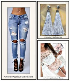 VINTAGE BOHEMIAN EARRINGS Dove Grey Long Tassel Beaded Crystal Silver Boho Earrings/ Distressed Jeans/ Pink Lace Silver Sequin Top  #tassel #earrings #fringe #pave #grey #gray #jeans #distressed #denim #top #shirt #blouse #lace #pink #silver #sequin #jewelry #womens #clothing #bohochic #wholesale #cowgirl #gypsy #casual #style #fashion #boutique #onlineshopping #beautiful