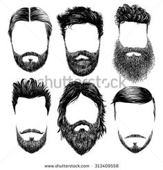 Hipster fashion man hair and beards, Hand drawn vector illustration set - stock vector