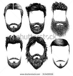 Hipster fashion man hair and beards, Hand drawn vector illustration set - stock vector