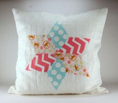Faux Quilted Pillow with Fabric Mod Podge