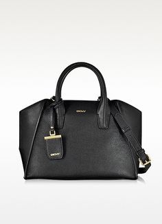 DKNY Chelsea Black Grained Leather Satchel. #dkny #bags #shoulder bags #hand bags #leather #satchel #lining #