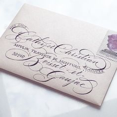 Instagram de @frenchbluejoy • www.studiofrenchblue.com Ornate calligraphy for weddings. Thank-you note