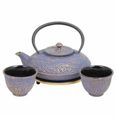 Enjoying Tea – Blue with Gold Dragon Phoenix Cast Iron Tea Set