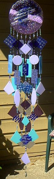 Aurora Borealis Fused Glass Wind Chimes by Andrea Mattison