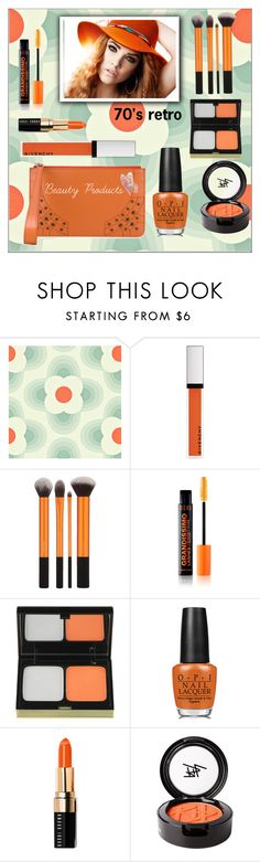"""70's Retro feel Makeup Products"" by frenchfriesblackmg ❤ liked on Polyvore featuring beauty, Orla Kiely, Givenchy, Kevyn Aucoin, OPI, Bobbi Brown Cosmetics, Beauty Is Life and Tod's"
