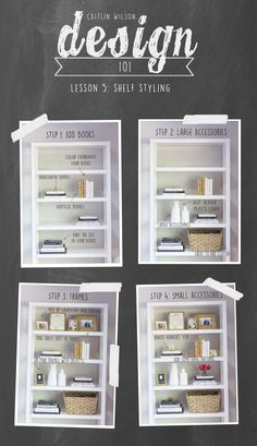 Shelf styling tips from Caitlin Wilson Design Diy Interior, Interior Design Tips, Interior Design Living Room, Interior Decorating Tips, Interior Lighting, Design Ideas, Decorating Bookshelves, How To Decorate Bookshelves, How To Decorate Living Room