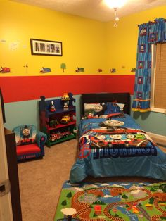 "Thomas the Train bedroom! Created by my brain  the sharp lines were helped along by ""frog tape"""