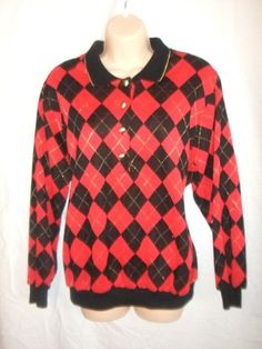 womens sweater  size 38 long sleeve red black/gold Alfred Dunner  #AlfredDunner #KnitTop #Casual