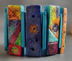 Multicolored Tiles by Margit Bohmer (polymer clay)