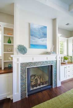 Fireplace with small multicolored tiles - A House in Manhattan Beach That Loves the Blues | Hooked on Houses